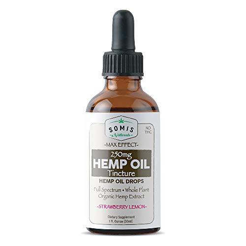 SOMIS 750mgHemp Tincture Oil Drops - 30ml (1oz.) - Strawberry Lemon
