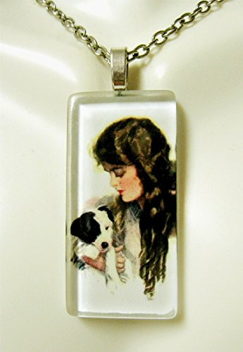 (Girl with Terrier glass pendant - DGP02-416 - Harrison Fisher)