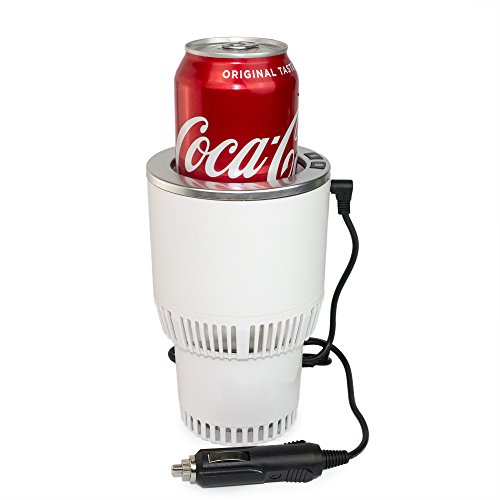 Premium 2-in-1 Car Cup Cooler Warmer Smart Car Cup Mug Holder Auto Tumbler Holder (White and silver)