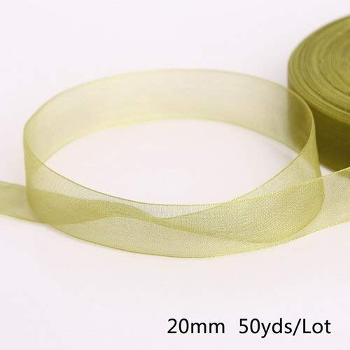Yard 50 Olive - Jammas Handmade Multicolor Silk Organza Ribbon 50 Yard 20MM Wedding Christmas Decoration DIY Webbing Card Gift Wrapping - (Color: Olive Green)