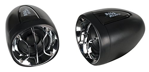 "BOSS AUDIO MC300 Weatherproof 2.5"" 400 Watt Motorcycle/ATV Amplified Speaker System With Chrome and Black Grilles, 3.5 mm Aux Input, Volume Control and Handlebar Mount"