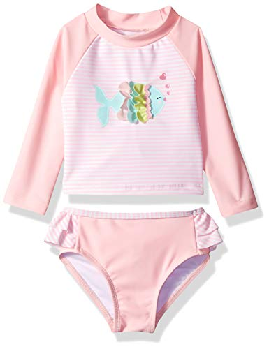 Little Me Children Baby and Toddler Girls UPF 50+ 2-Piece Rashguard, Pink/Fish, 24 Months