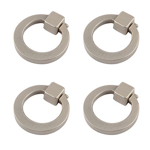 Welldoit Modern Cabinet Drawer Pull Handle Dresser Wardrobe Cupboard Knob Ring Pack of 4 (Brushed) (Pull Ring Zinc)