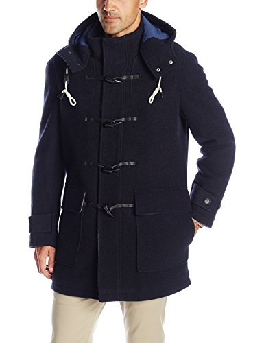 Cole Haan Men's Boiled Wool Toggle Duffle Coat, Navy, Medium