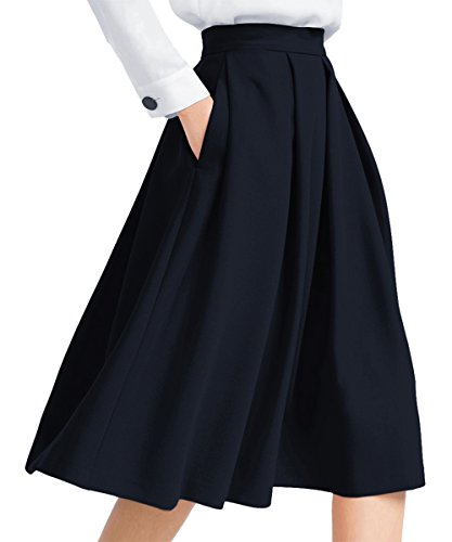 Yige Women's High Waisted A line Skirt Skater Pleated Full Midi Skirt Dark Blue US2