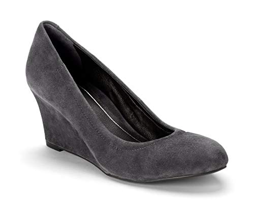 Vionic Women's Lux Camden Wedge Heels – Ladies Dress Shoes with Concealed Orthotic Support - Dark Grey Suede 6.5M