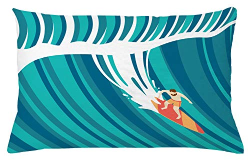 Lunarable Surf Throw Pillow Cushion Cover, Man on Surfboard Huge Waves Summer Ocean Sports Hawaii Splash Water Modern Art Drawing, Decorative Rectangle Accent Pillow Case, 26