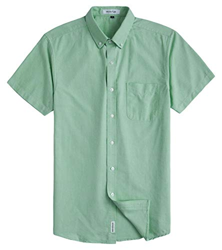 MUSE FATH Men's Button Down Dress Shirt-Casual Short Sleeve Shirt-Party Dress Shirt with Chest Pocket-Light ()