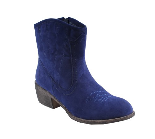 Bonnibel Calico-2 Botín De Tobillo Con Punta Redonda Estilo Occidental Para Mujer En Tacones Gruesos, Color: Royalblue, Tamaño: 6.5