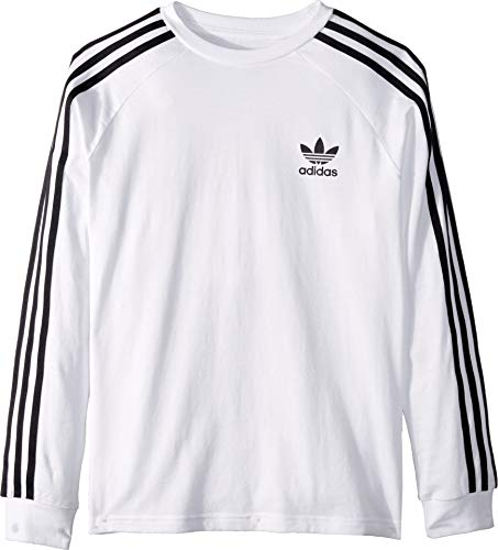 adidas Originals Kids' Little 3-Stripes Long Sleeve Tee, Legend Marine/Multi/White X-Large