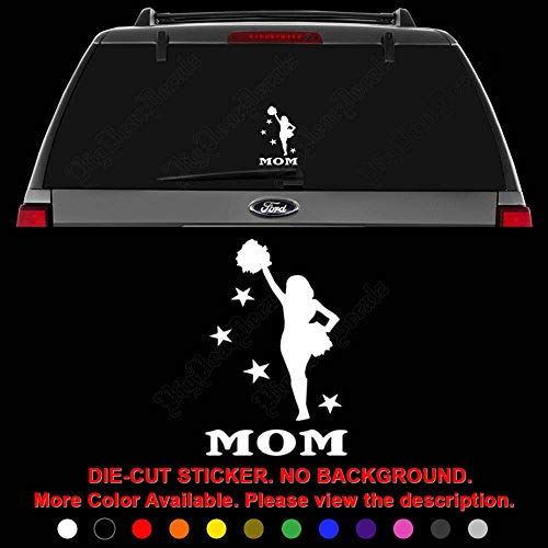 (Cheer Mom Cheerleading Die Cut Vinyl Decal Sticker for Car Truck Motorcycle Vehicle Window Bumper Wall Decor Laptop Helmet Size- [8 inch] / [20 cm] Tall || Color- Gloss Black )