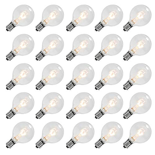 Goothy Clear Globe G40 Screw Base Light Bulbs Replacement 1.5-Inch, E12 Base, 25 Pack ()