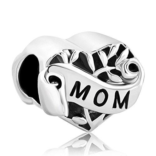 CharmSStory Silver Plated Grandma/Wife/Sister/Niece/Aunt Heart I Love You Beads For Bracelets (Mom)