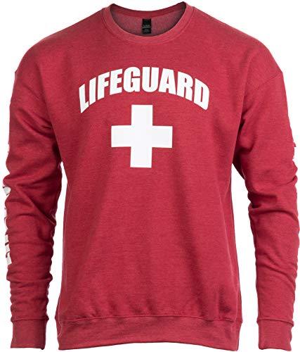Lifeguard | Red Unisex Uniform Fleece Sweatshirt Crewneck Sweater for Men Women - Crew,M ()