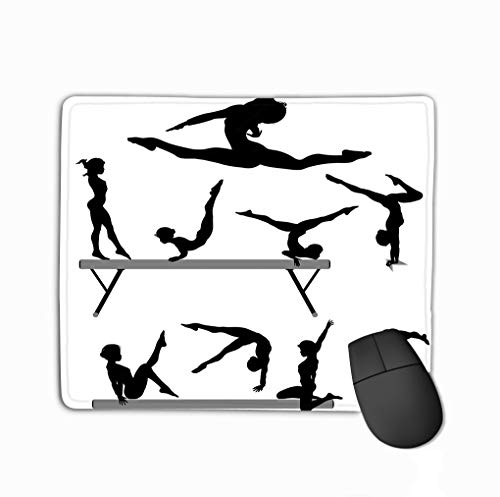 Customized Rectangle Mousepad,Cute Gaming Mouse Pad Mat 11.81 X 9.84 Inch Gymnast Balance Beam Gymnastics Silhouette Psychedelic