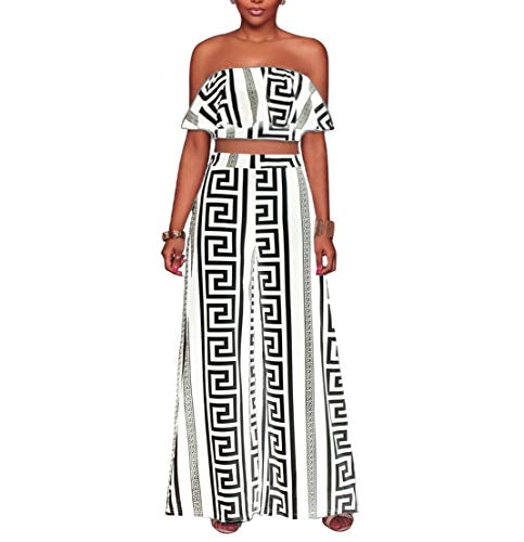 YSJERA Women's 2 Pieces Outfit Floral Sleeveless Tube Top Palazzo Long Pants High Waist Jumpsuits (S, H White Black) ()