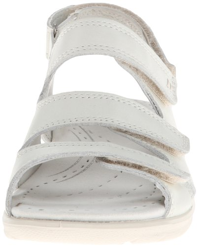 Ecco Babette Sandal Black Feather Babett 3 Strap - Mocasines de cuero para mujer, color azul, talla 36 White (Shadow White)