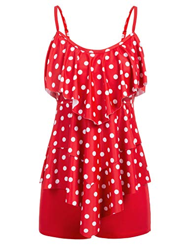 Bathing Suit with Shorts & Tankini Top for Girls 1920S Size 2XL Red Polka Dot
