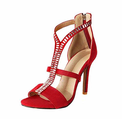 hauts talons hauts Taille Suede 10 43 Chaussures Rouge à à 40 Sandales Rome CM GLTER Femmes Strass talons n6Ixq7qXw