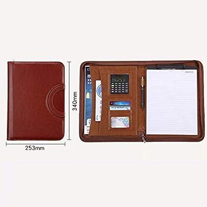 da conferenza con calcolatrice e cartellina portadocumenti Agenda da ufficio Custodia per documenti formato A4 cartellina in pelle Brown