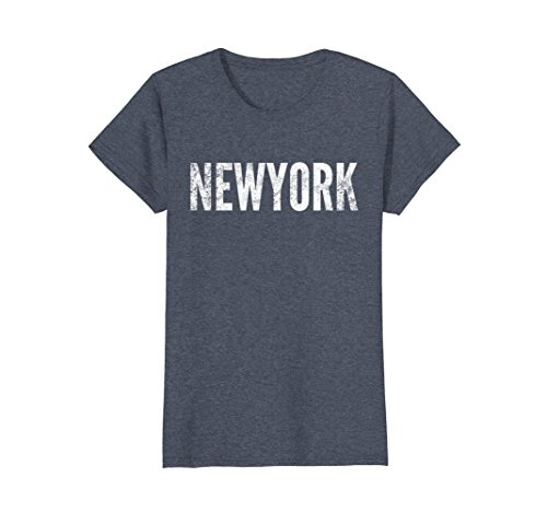 Womens New York T-Shirt - Distressed Style Graphic XL Heather (New York Style Graphic Tee)