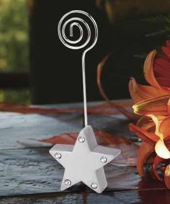 Silver Star Place Card Holder with Stones, (Silver Star Place Card Holder)