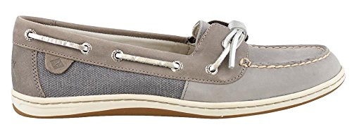Top Sider Tie Sperry Leather (Sperry Top-Sider Women's Barrelfish Boat Shoe, Grey - 6.5 B(M) US)