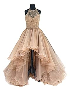 TBGirl Women's High Low Beading Champagne Organza Halter Prom Dresses