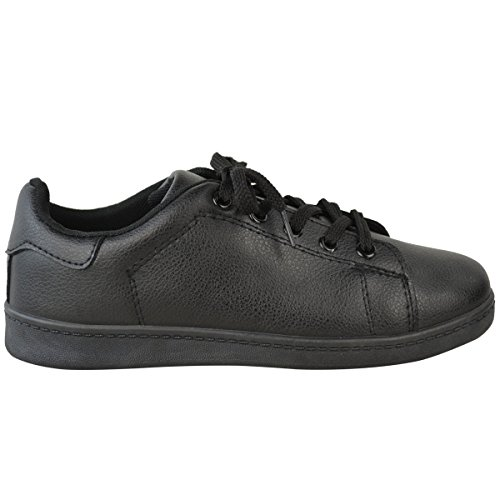 Thirsty Comfy Size Trainers Womens Casual Fashion Leather Plimsolls Flat Sneakers Black Shoes Lace Up Faux dw8aqBPx