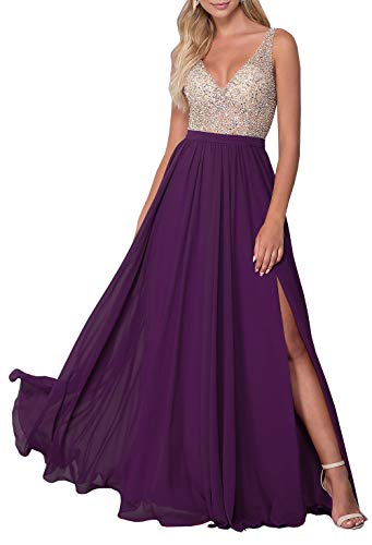 Women's See Through Beaded Bodice Evening Dress V-Neck Open Back Prom Gown Plum,2