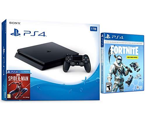 Playstation Battle Royale Fortnite Deep Freeze Starter Bundle: 1000 V-Bucks, Deep Freeze Frostbite Skin Set, Playstation 4 Slim 1TB Gaming Console – Black