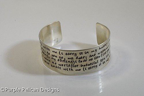 I Carry Your Heart With Me Hand Stamped Cuff Bracelet by Purple Pelican Designs