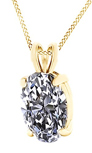 Oval Cut White Cubic Zirconia Pendant Necklace 10k Solid Gold (10k Gold Oval Pendant)