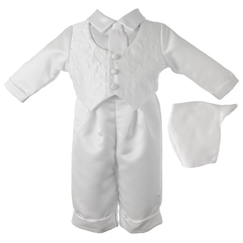 Lauren Madison Baby-Boys Newborn Christening Baptism Special Occasion Three Piece Satin Long Pant Outfit Set, White, 6-9 Months