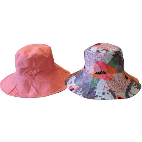Sun Lily Fashion Flips Reversible Sun Hat with Tote - Womens (Potpourri) (Adult Cute Sandals)