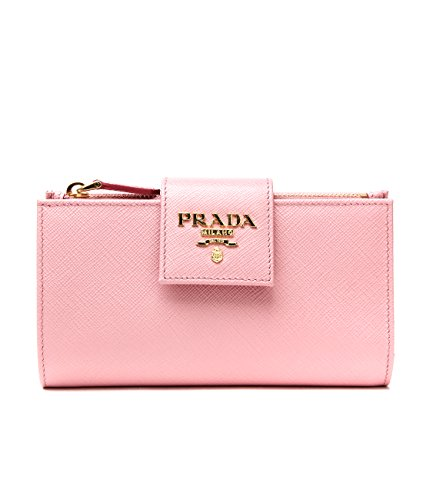 Wiberlux Prada Women's Metal Logo Detail Real Leather Tab Wallet