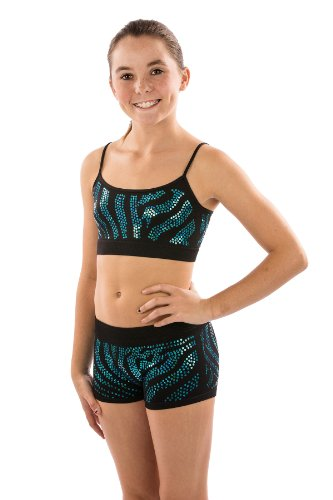 Girls Spandex Stretch Shorts for Gymnastics or Dance with Zebra Sequin Design by Lizatards