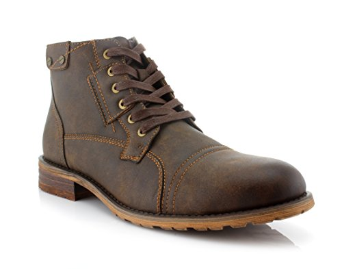 Polar Fox Ronny MPX806037 Mens Casual Work Lace Up Classic Motorcycle Combat Boots - Brown, Size 9