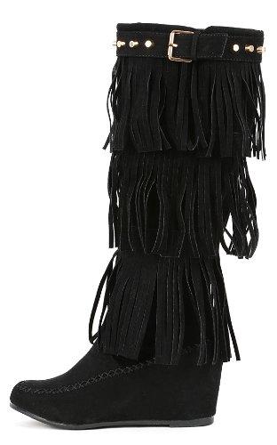 (Nature Breeze Womens Bridget-02Hi Suede Fringe Studded Moccasin Knee High Wedge Boot,Black,6)