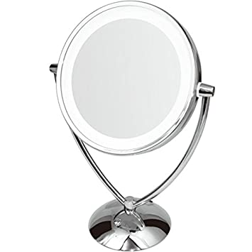 Ovente 9.5u201d Lighted Tabletop Makeup Mirror, Battery Or USB Adapter  Operated, 1x10x Magnification