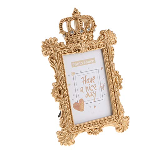 Flameer Vintage Gold Resin Crown Style Picture/Photo Frame Desk Bedroom Home Décor - Rectangle 6 -