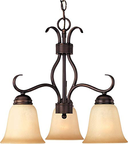 Maxim 10122WSOI Basix 3-Light Chandelier Down Light Chandelier, Oil Rubbed Bronze Finish, Wilshire Glass, MB Incandescent Incandescent Bulb , 60W Max., Dry Safety Rating, Standard Dimmable, Metal Shade Material, Rated Lumens ()