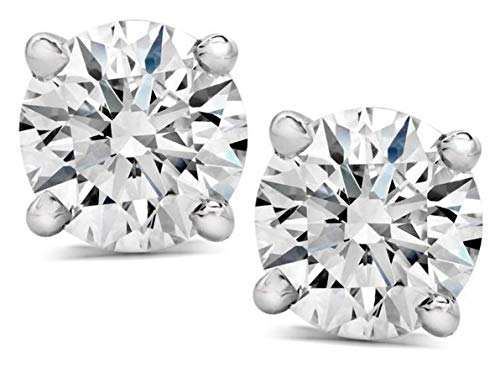 Jewelry By Bruno 1.80 CTW Carat Round Cut Solitaire Earrings For Women Natural E SI3 Diamond Certified Stud Earrings 14K White Gold