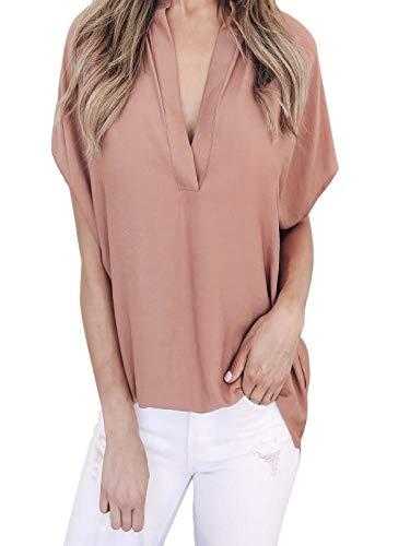 Answerl⍣ Women's Casual Short Bat Sleeve Deep V Neck Loose Ciffon Tunic T Shirt Blouse Tops Pink