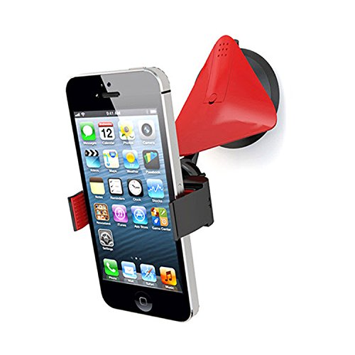 Square Car Mount Red, Windshield Cell Phone Holder with Strong Suction Cup for Samsung Galaxy S8, S8 Plus, iPhone 7, 7 +, & Most Smartphones
