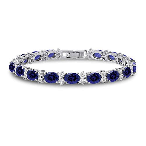 Cubic Zirconia Tennis Bracelet CZ Round Cut Oval Cut Simulated Blue Sapphire Silver Plated Brass 7 inch (Diamond Sapphire Bracelet Blue)