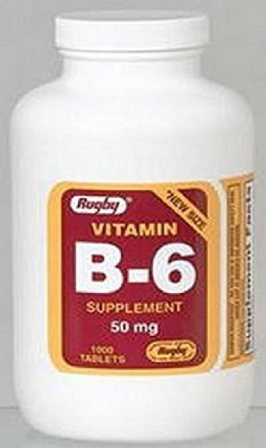 RUGBY VITAMIN B-6 (PYRIDOXINE) 50MG TABLETS 1000 CT (PACK OF 3)