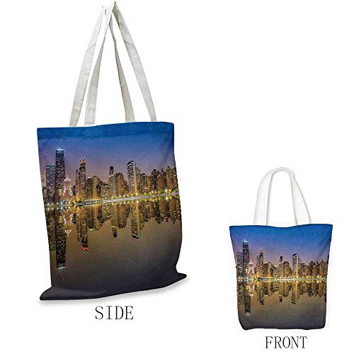 - Chicago Skyline Craft canvas shopping bag Evening Time at Busy American Town Lifestyle Architecture Landscape Can also be loaded with a laptop W15.75 x L17.71 Inch Sepia Mauve Yellow