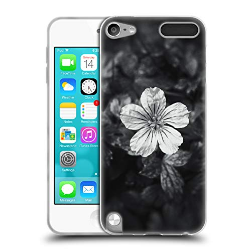 Official PLdesign Black and White Petal Flowers and Leaves Soft Gel Case for Apple iPod Touch 5G 5th ()