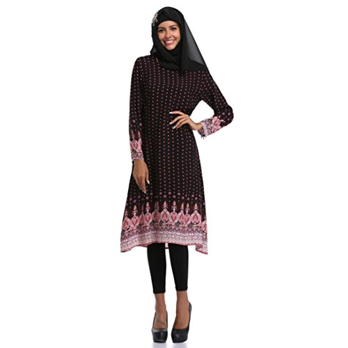 Muslim Dress SanCanSn Women Plus Size Middle East Long Dress Islamic Printing Long Sleeves(Black,M) by SanCanSn Dress